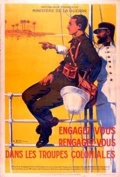 Original 1930s French War Propaganda Poster - Join Or Rejoin The Colonial Troops