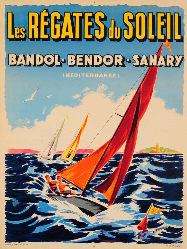 Unknown Print - Original Vintage Sailing Event Poster For The Regatta Of The Sun (Mediterranean)