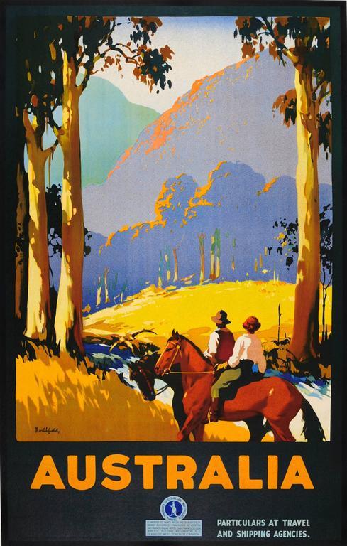 Original Vintage 1920s Travel Advertising Poster By James Northfield - Australia - Print by James Northfield