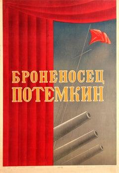 Rare Original Vintage Russian Movie Poster For Eisenstein's Battleship Potemkin