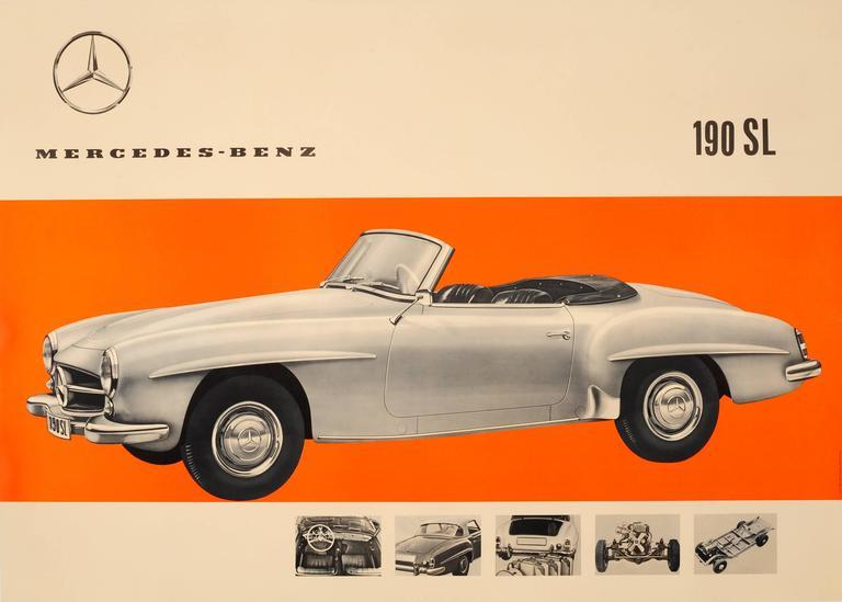 Unknown original vintage car advertising poster for for Vintage mercedes benz posters