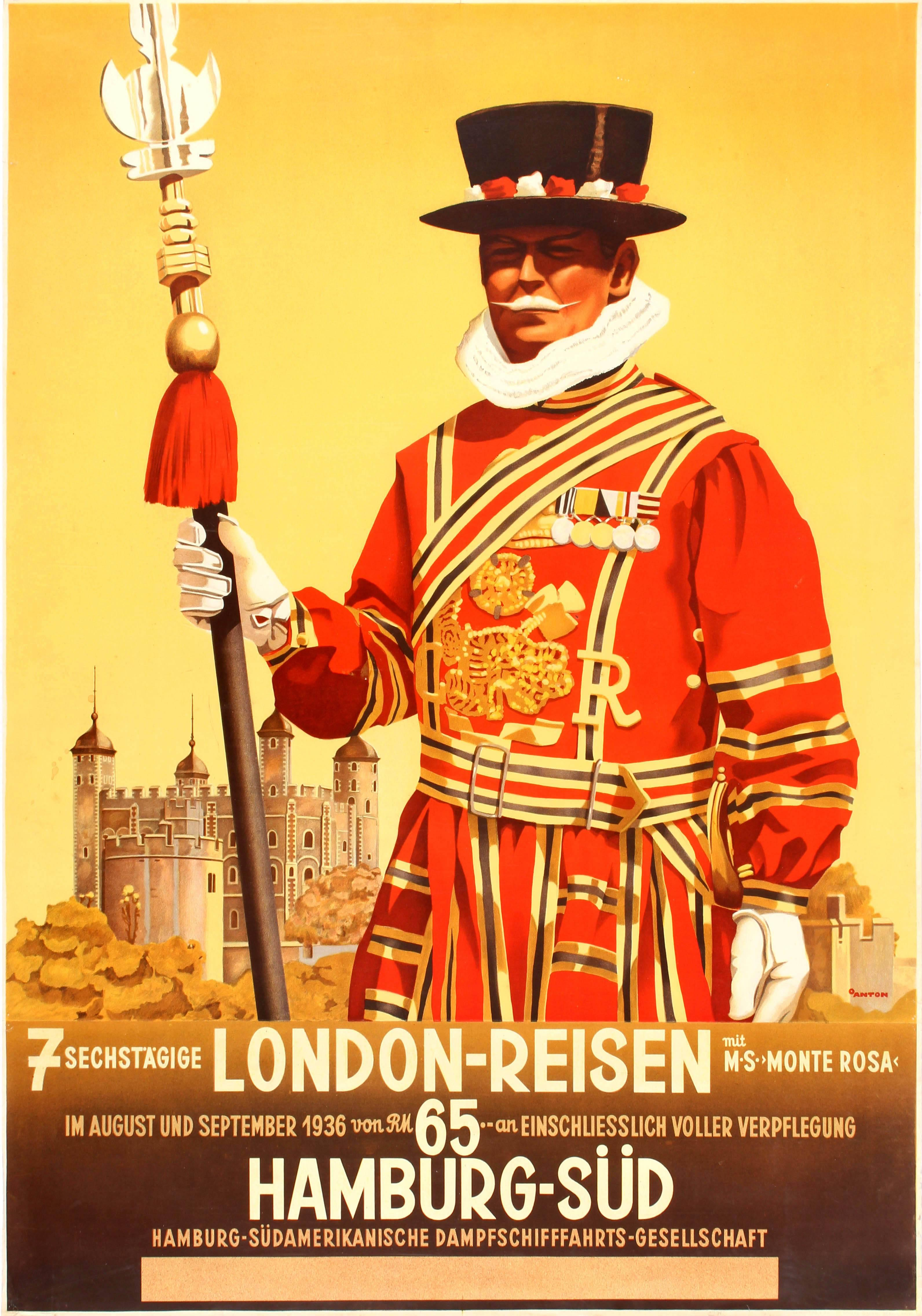 Original Vintage 1936 Travel Advertising Poster For 7 Days London By Hamburg Sud