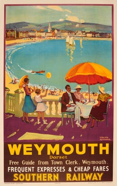 Original 1935 Southern Railway Travel Advertising Poster For Weymouth Dorset