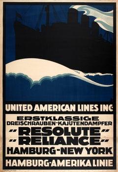 "Original Cruise Ship Travel Poster For Hamburg-New York By ""Resolute"" ""Reliance"""