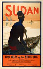 Original Vintage Travel Advertising Poster - Sudan - Weekly White Nile Sailings