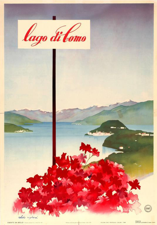 ce035442923 Aldo Cigheri Print - Original Vintage ENIT Travel Poster Advertising Lake  Como - Lago Di Como. 27.37 in.