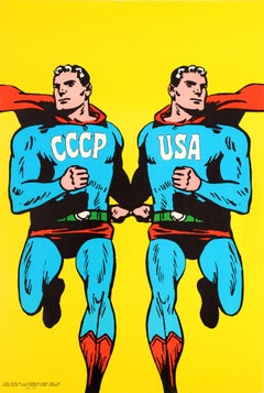 Original Vintage 1968 Cold War Superman Style Poster by Cieslewicz USSR CCCP USA