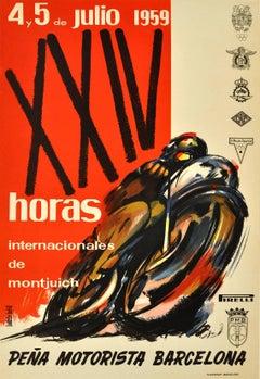 Original 1959 Motorcycle Race Poster - XXIV Horas Internacionales De Montjuich