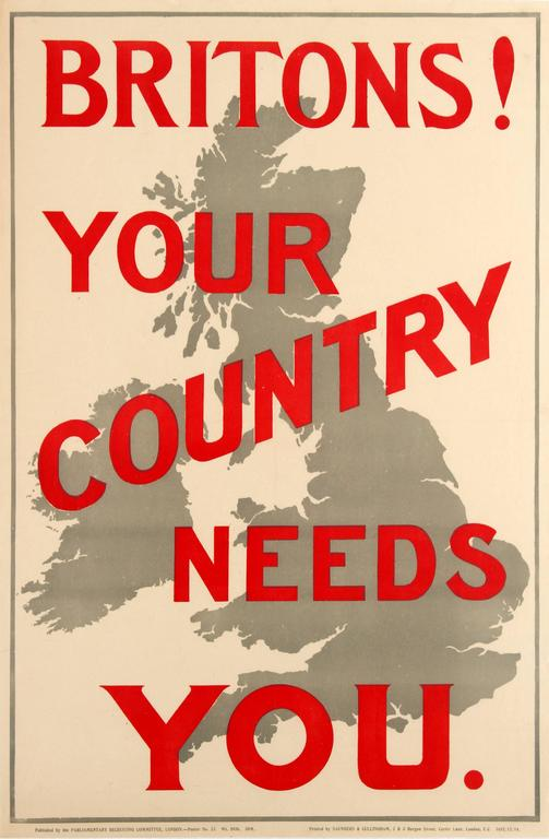 Original 1914 World War One Propaganda Poster - Britons! Your Country Needs You