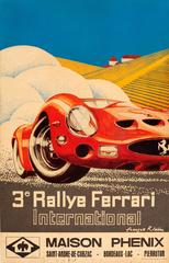 Original Vintage Car Racing Event Poster For The 3rd International Ferrari Rally