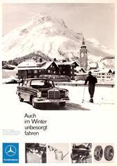 Original Vintage Mercedes Benz Advertising Poster - Even In Winter Drive Safely