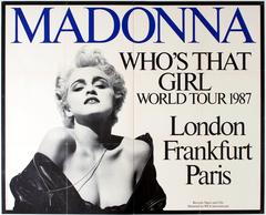 """Original Vintage 1987 """"Queen Of Pop"""" Music Tour Poster - Madonna Who's That Girl"""