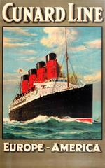 Original 1920s Cunard Line Cruise Ship Travel Advertising Poster: Europe America