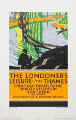 Original 1926 Southern Railway Poster: The Londoner's Leisure The Thames Resorts