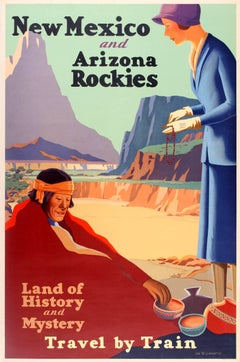 Original 1920s Travel Poster Advertising New Mexico And Arizona Rockies By Train