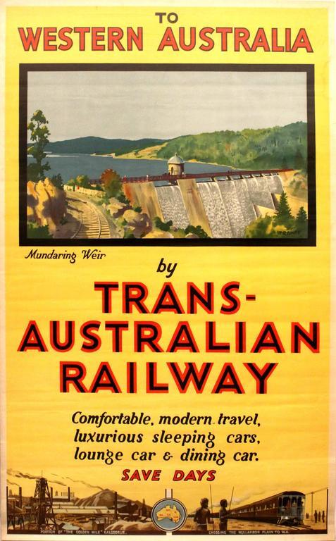 Original Vintage Travel Poster: To Western Australia By Trans-Australian Railway