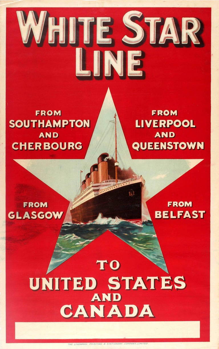 Unknown Print - Original Vintage White Star Line Poster Advertising Cruises To USA And Canada