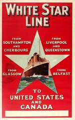 Original Vintage White Star Line Poster Advertising Cruises To USA And Canada