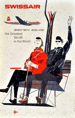 Original Vintage Swissair Poster - Seven Seas The Greatest Ski Lift In The World