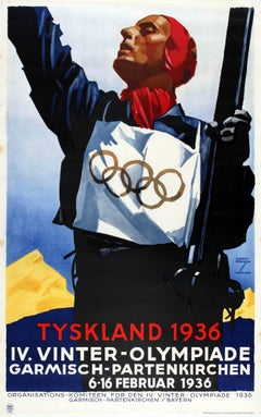 Original Vintage IV Winter Olympic Games Skiing Poster For Tyskland Germany 1936