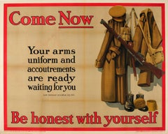 Original World War One Recruitment Poster: Come Now - Be Honest With Yourself
