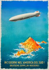 Original Vintage Zeppelin Travel Advertising Poster: In 3 Days To South America!