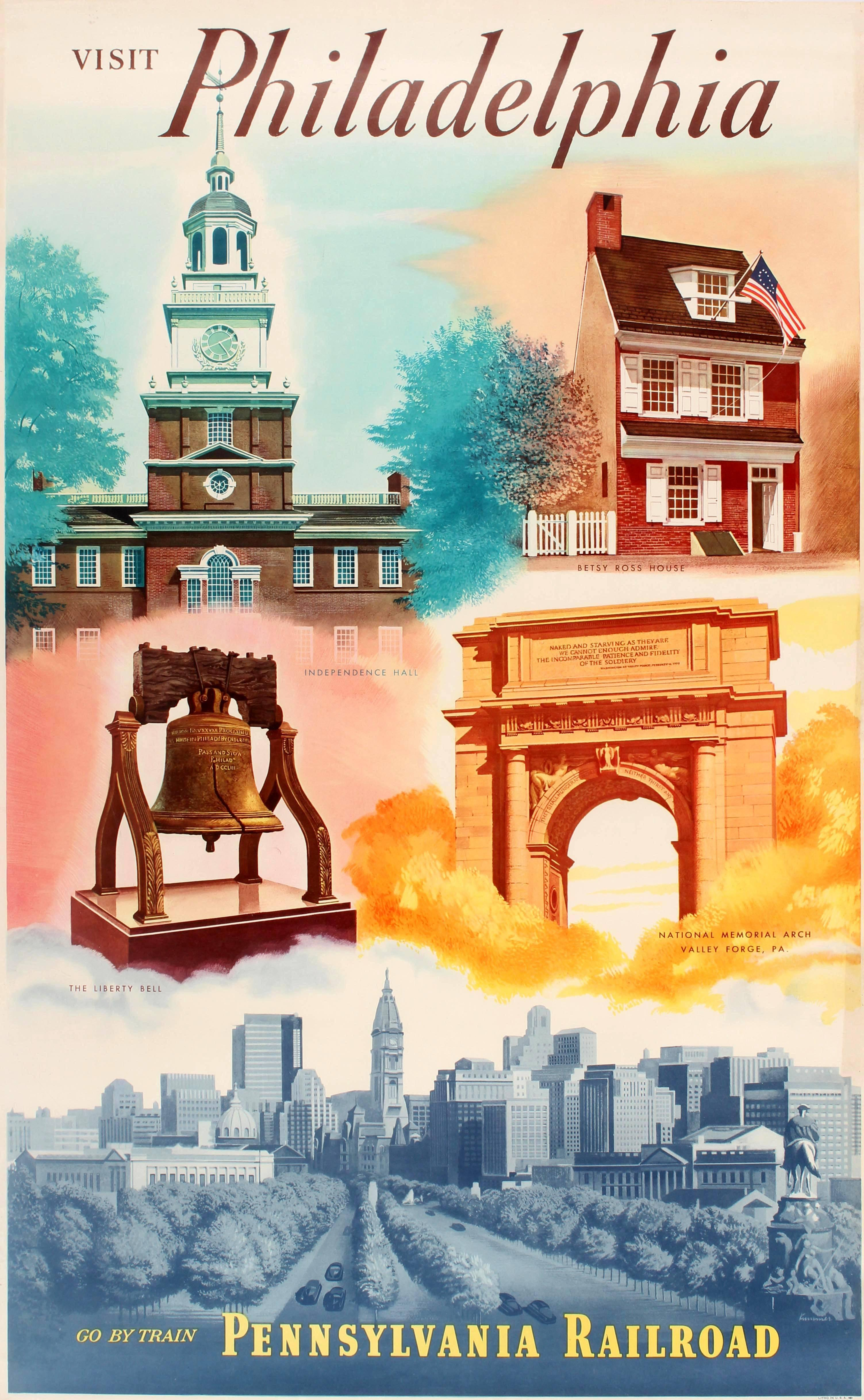 Original Vintage Pennsylvania Railroad Poster - Visit Philadelphia - Go By Train