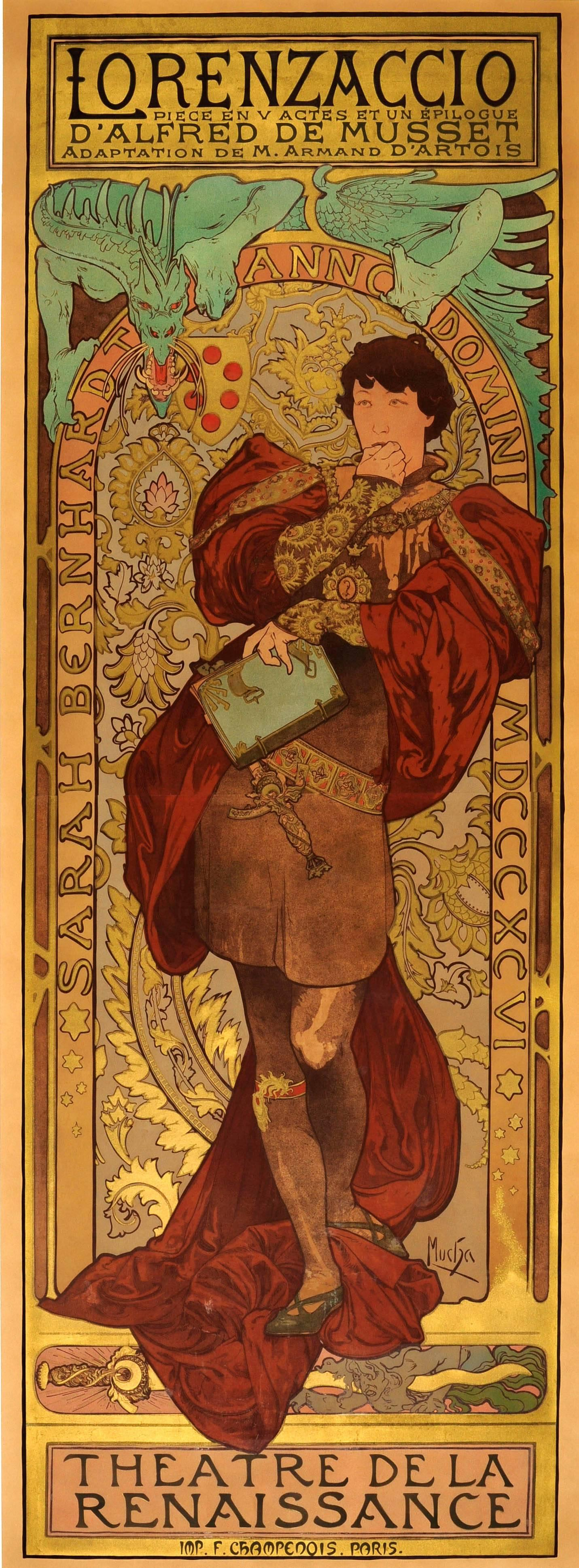 Lorenzaccio Art Nouveau Print Alphonse Mucha Poster Theatre de la Renaissance