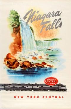 Original Vintage New York Central Railway Poster Advertising The Niagara Falls
