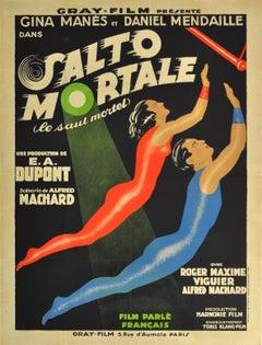 Original Circus Movie Poster For Salto Mortale Saut Mortel / Trapeze Fatal Leap