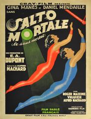 Original Circus Movie Poster For Salto Mortale Saut Mortel / Trapeze Fatal Leap