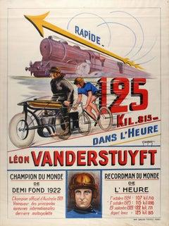 Original Vintage World Record Sport Cycling Poster Featuring Leon Vanderstuyft