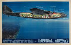 Original Vintage Imperial Airways Ensign Air Liner Travel Advertising Poster