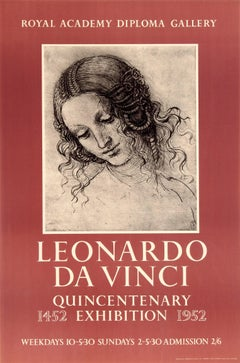Original Vintage Royal Academy Poster For The 1952 Leonardo Da Vinci Exhibition
