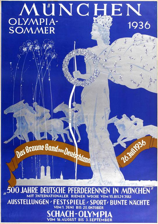 Ludwig Lutz Ehrenberger Print - Original Vintage Munich Olympic Sport Poster For Das Braune Band / Brown Ribbon