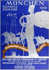 Original Vintage Munich Olympic Sport Poster For Das Braune Band / Brown Ribbon