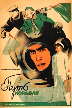 Original Vintage Soviet Movie Poster For A Scuba Rescue Film - Course Of A Ship