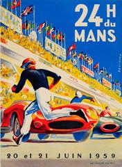 Original Vintage Le Mans Car Racing Poster By Beligond - 24 Heures Du Mans 1959