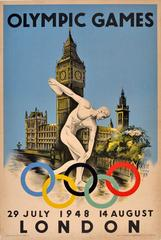 Original Vintage Iconic Discobolus Poster For The 1948 London Olympic Games
