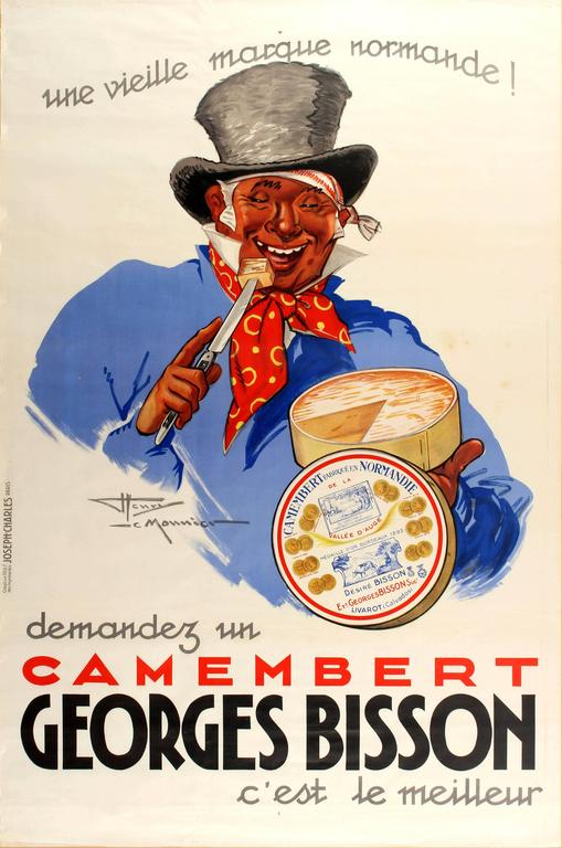 Original Vintage Food Poster Advertising Georges Bisson Camembert Cheese  France