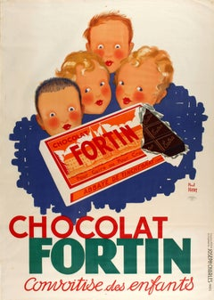 Original Large Vintage Food Poster For Chocolate Fortin - Children's Desire