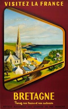 Original Vintage SNCF Railway Travel Poster - Visit France - Brittany By Train