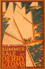 Rare Original Vintage Advertising Poster: Summer Sale At Derry & Toms Kensington