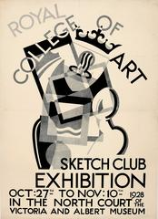 Original Royal College Of Art Sketch Club Poster - 1928 Exhibition At V&A Museum