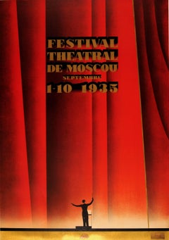 Original Vintage Intourist Poster By Zhukov For The Moscow Theatre Festival 1935