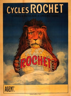 Original Antique Bicycle Advertising Poster By Chapellier - Cycles Rochet Amiens