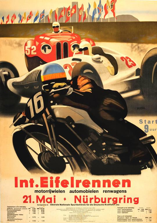Alfred Hierl Print - Original Car And Motorcycle Racing Poster For The Int. Eifelrennen Nurburgring