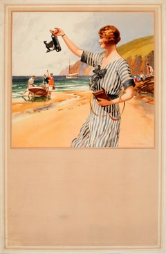 Original Vintage Kodak Camera Advertising Poster - Summer Beach Scene Painting