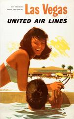Original Vintage Las Vegas United Air Lines Poster - Day Time Sun Night Time Fun