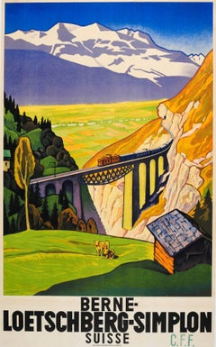 Original Vintage Travel Poster Advertising The Bern Lotschberg Simplon Railway
